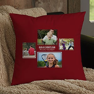 men s 4 photo collage personalized small throw pillow for him