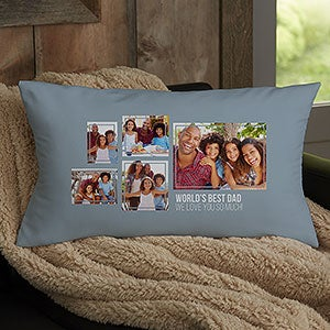men s 5 photo collage personalized lumbar pillow for him
