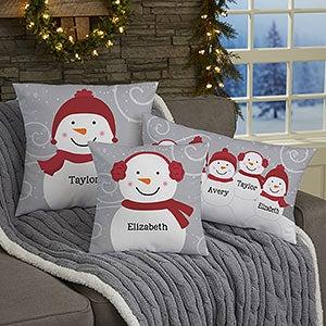 Snowman Family Personalized Throw Pillows - 21535