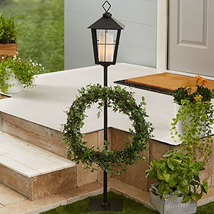 Black Lantern Wreath Holder Stand - 21578