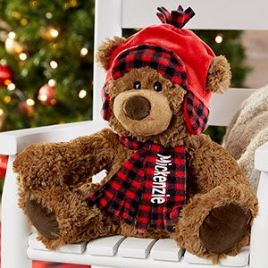 Buffalo Check Personalized Christmas Teddy Bear - 21593