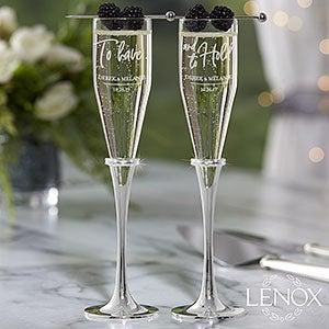 Lenox Champagne Flutes - Personalized Wedding Flutes - 21631