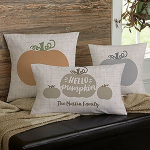 Personalized Fall Throw Pillows - Hello Pumpkin - 21634