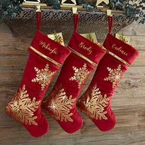 personalized red gold christmas stockings 21635 - Gold Christmas Stocking