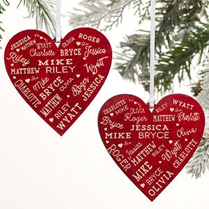 Personalized Wooden Heart 44 Name Ornament - 21668