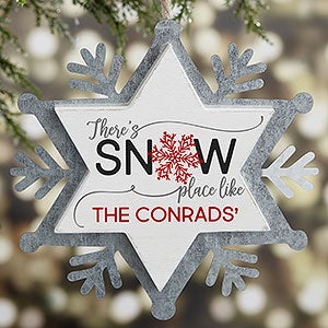 Snow Place Like Home Personalized Snowflake Ornament - 21671
