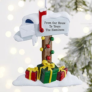 Holiday Greetings Personalized Mailbox Ornament - 21676
