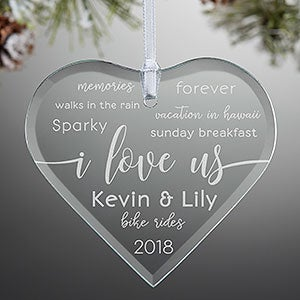 I Love Us Engraved Glass Heart Ornament - 21693