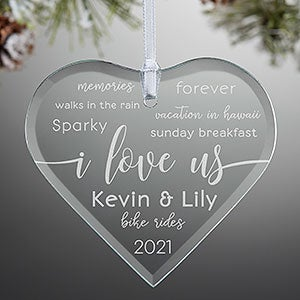 I Love Us Heart Engraved Message Ornament-21693