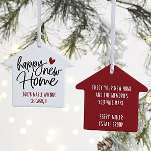 New Home Christmas Ornament 2020 Happy New Home 2 Sided Personalized House Ornament   Christmas Corner
