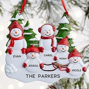 Snowman Family 5 Name Personalized Ornament Christmas Clearance