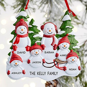 Snowman Family 6 Name Personalized Ornament Christmas Clearance