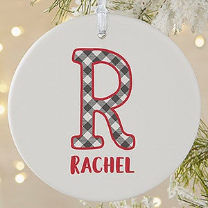 buffalo plaid monogram photo ornaments 21708 - Farmhouse Christmas Decor For Sale