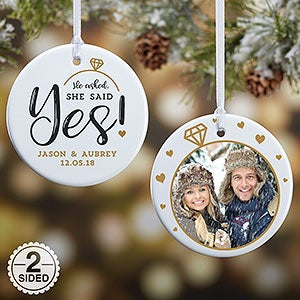 Engagement Photo Ornament - He Asked, She Said Yes - Christmas