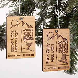Ski Pass Personalized Wood Ornament - 21726