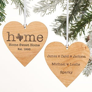 Home State Personalized Wood Heart Ornament - 21729