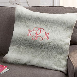 Personalized Faux Fur Throw Pillow - 21792