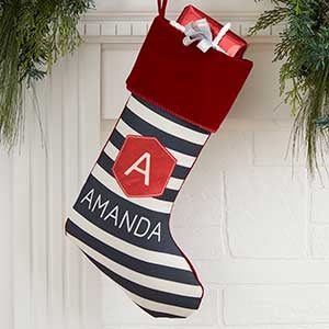 buy modern stripe personalized christmas stockings you can customize with any name and initial monogram choose design and cuff colors - Modern Christmas Stockings