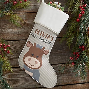 baby moose personalized first christmas stockings 21858 - Moose Christmas Stocking