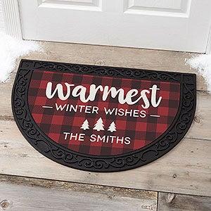 Personalized Buffalo Check Half Round Doormat - Cozy Cabin - 21869