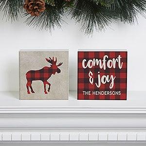 Personalized Buffalo Check Shelf Decor - Cozy Cabin - 21874