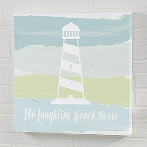 Seaside Swatch Lighthouse Personalized Canvas Prints - 21896