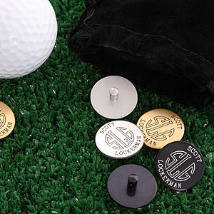 Personalized Golf Ball Markers Set With Initial Monogram - 2190D