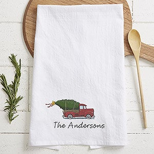 Personalized Flour Sack Towel - Vintage Christmas Red Truck - 21931