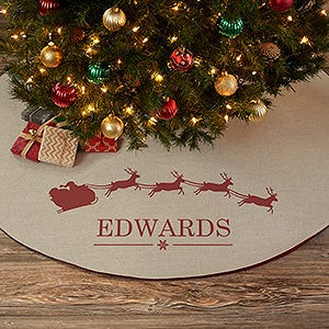 free personalization fast shipping buy santa sleigh personalized christmas tree skirt you can customize with any name the vintage inspired design