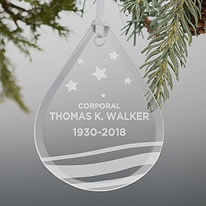 Military Memorial Teardrop Engraved Glass Ornament - 21958