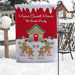 Gingerbread Family Personalized Garden Flag - 21962