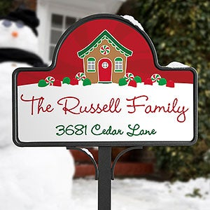 Gingerbread Family Personalized Garden Sign - 21966