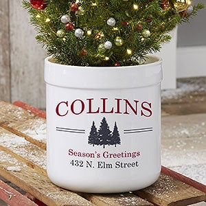 vintage holiday personalized outdoor flower pot 21967 - Vintage Outdoor Christmas Decorations For Sale