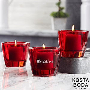 Kosta Boda Bruk Personalized Red Votive - Set of 3 - 21998