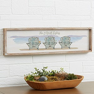 Buy Personalized Wall Art Featuring A Beach Inspired Theme With Adirondack  Chairs On A Sea Shore By Artist Sue Schlabach.