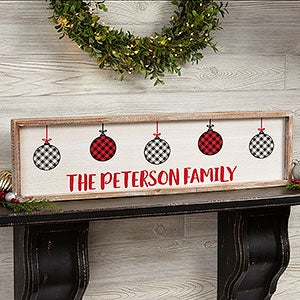 buy personalized framed wall art with our farmhouse christmas design featuring red black and white buffalo check plaid ornaments