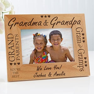 Custom Personalized Wood Picture Frame Grandma And Grandpa Design