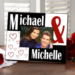 Personalized Love Photo Frame with Red Hearts - 2311