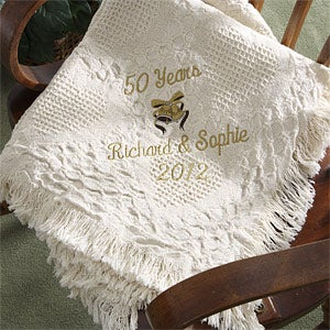 Personalization Mall Golden 50th Anniversary Personalized Afghan at Sears.com