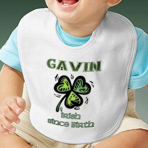 Personalization Mall Custom Personalized Baby Bibs - Irish Since Birth Shamrock Design at Sears.com