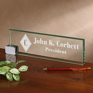 Personalized Executive Glass Name Plate