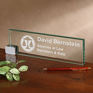 Personalized Glass Desk Nameplate - Legal Design - 2378