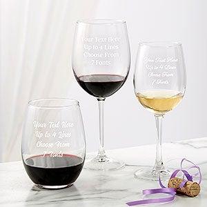 YOUR LOGO carved on 4 WINE glasses Set of 4