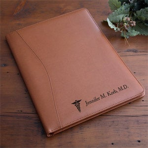 Engraved Leather Portfolio - Medical Design - 2453