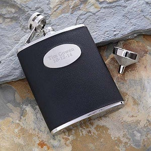 Personalization Mall Personalized Black Leather Pocket Flask For Men at Sears.com