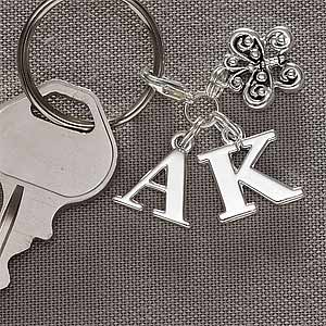 Personalized Silver Charms Key Ring