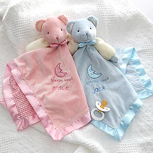 Personalized Teddy Bear Baby Blanket - Embroidered - 2547