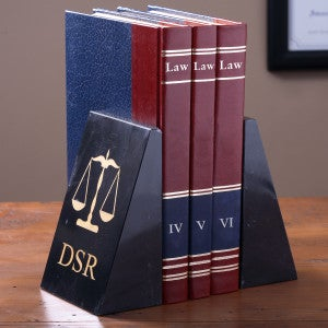 Monogram Marble Bookends - Scales of Justice Legal Design - 2553