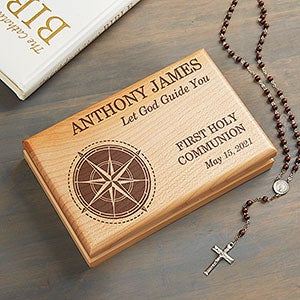 First Communion Compass Engraved Valet Box - #25669