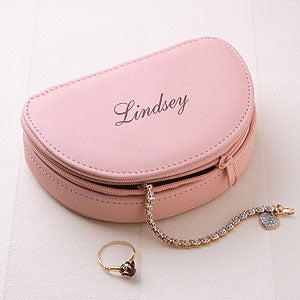 Personalized Leather Jewelry Travel Case - 2609